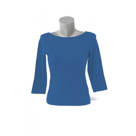 Camiseta Cuello Barca 3/4 Azulina